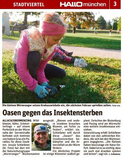Kleiner Bericht in Hallo München. Fotos 8.10.: Cordelia Schlederer und Würmranger.
